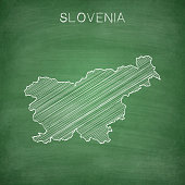 Slovenia map drawn on chalkboard - Blackboard