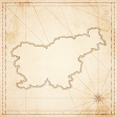 Slovenia map in retro vintage style - old textured paper