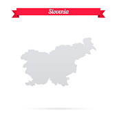 Slovenia map on white background with red banner