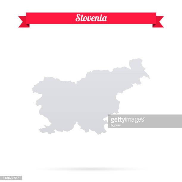 slovenia map on white background with red banner - slovenia stock illustrations