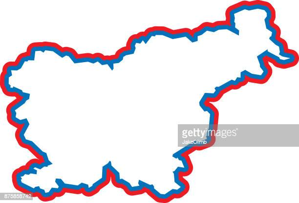 slovenia outline - country geographic area stock illustrations, clip art, cartoons, & icons