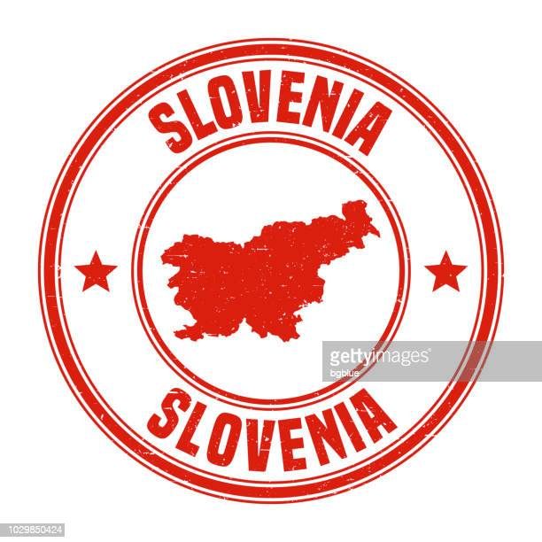 slovenia - red grunge rubber stamp with name and map - slovenia stock illustrations