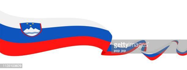 スロベニア - リボン フラグ ベクトル フラット アイコン - スロベニア国旗点のイラスト素材/クリップアート素材/マンガ素材/アイコン素材