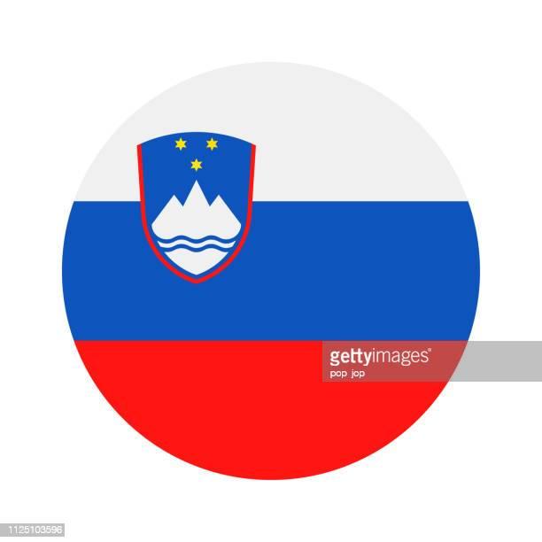 スロベニア - フラグ ベクトル フラット アイコン ラウンド - スロベニア国旗点のイラスト素材/クリップアート素材/マンガ素材/アイコン素材