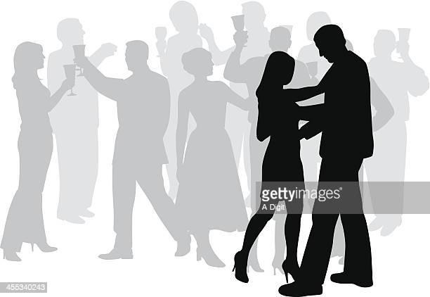 ilustraciones, imágenes clip art, dibujos animados e iconos de stock de slowdance - bailar un vals