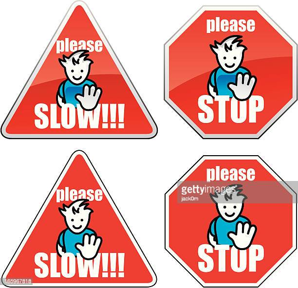 slow & stop - crossing sign stock illustrations, clip art, cartoons, & icons
