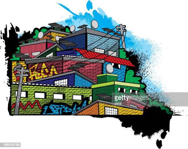 slum - favela stock illustrations