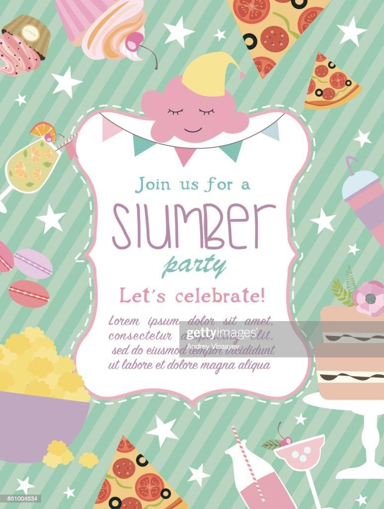 Slumber Party Invitation Card Birthday Invitation Card Vector Art ...