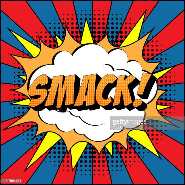 smack comic text on explosion speech bubble in pop art style. - slapping stock illustrations
