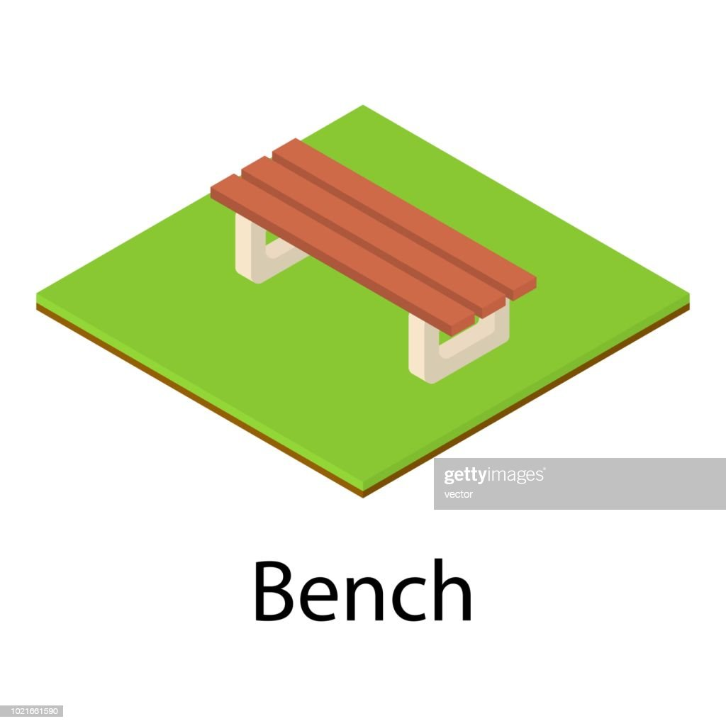 Small bench icon, isometric style