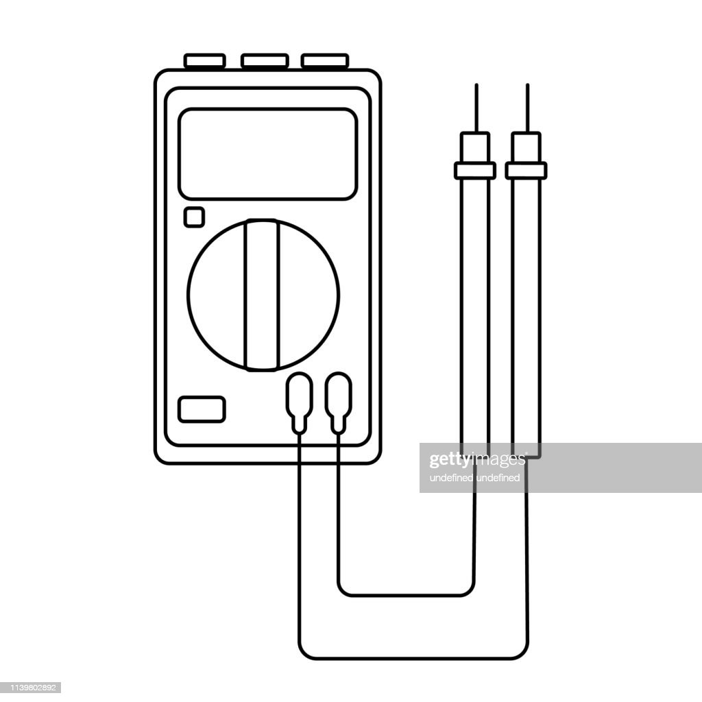 A small black and white electricity meter, tester, digital multimeter, for measuring AC, DC voltage, current, resistance, wiring damage and connections. Construction tool. Vector illustration