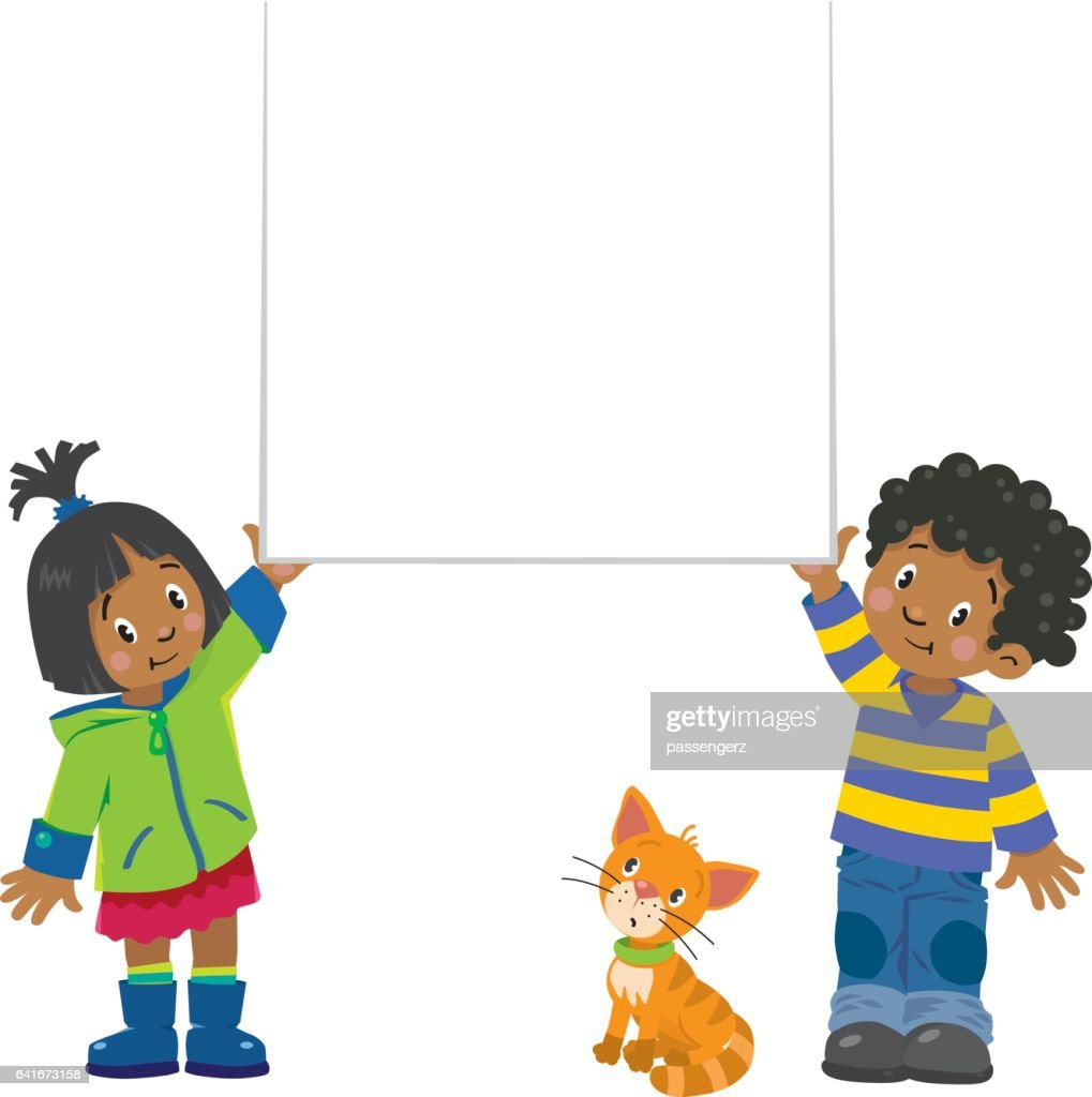 Small boy and girl holding banner
