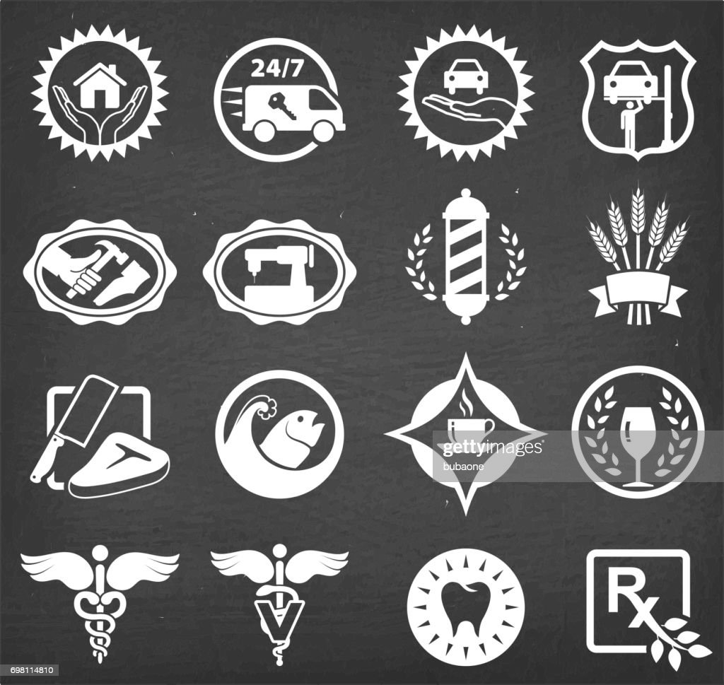 small business badges chalk board vector icon set vector art getty
