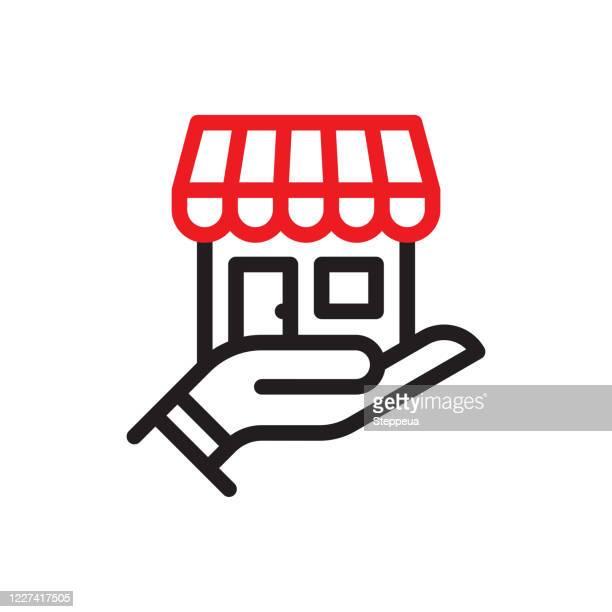 illustrazioni stock, clip art, cartoni animati e icone di tendenza di icona della linea small business - reggere