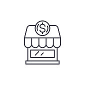 Small business linear icon concept. Small business line vector sign, symbol, illustration.