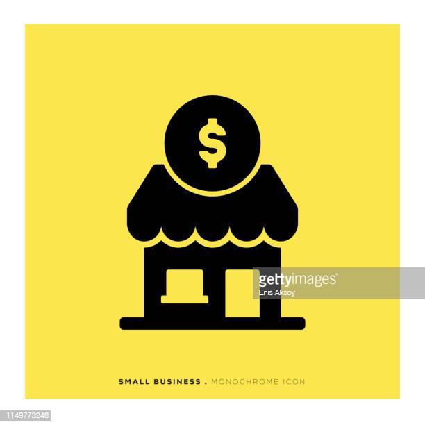 small business monochrome icon - retail employee stock illustrations
