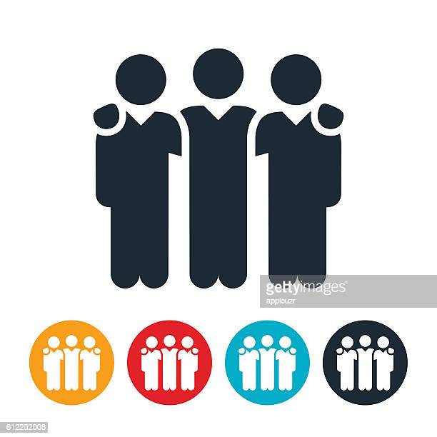 small business team icon - three people stock illustrations