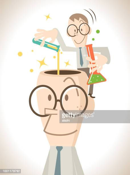 Small businessman (scientist or chemist) doing a scientific experiment and standing on the giant opened head