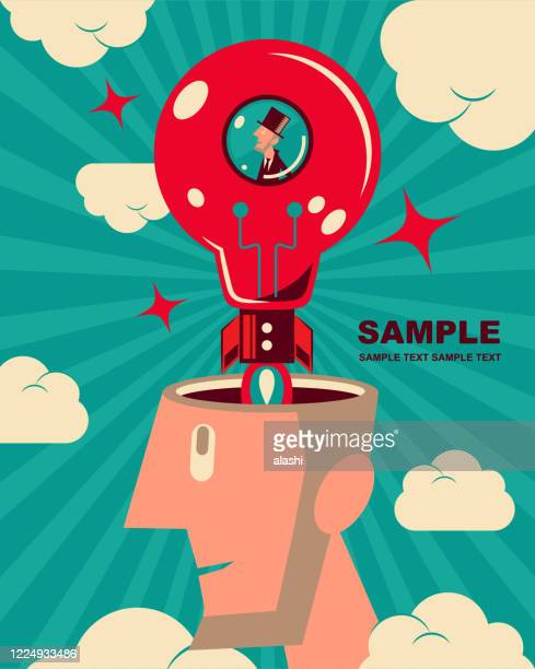 kleiner geschäftsmann (explorer, raumfahrer) reitet auf der idee glühbirne rakete (raumschiff, space shuttle), die vom kopf des riesenmannes starten wird - erfindung stock-grafiken, -clipart, -cartoons und -symbole