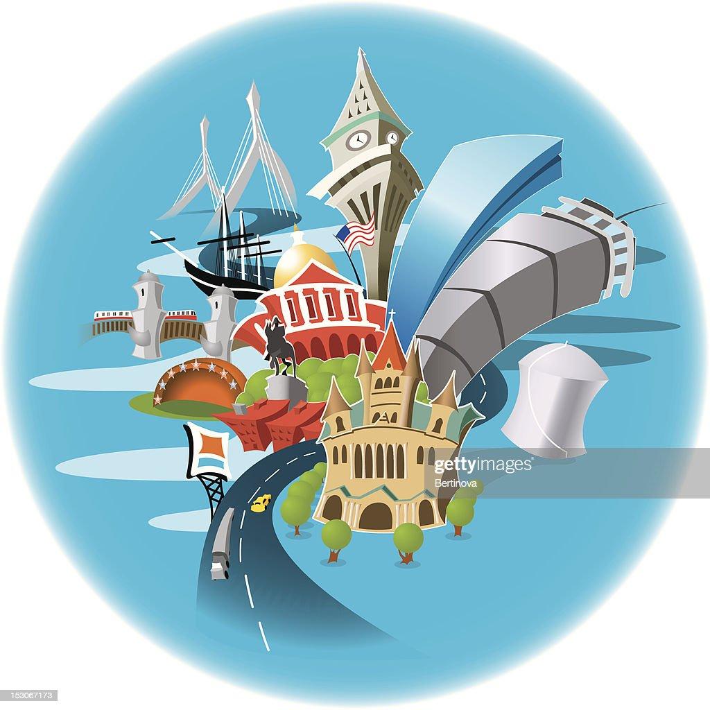 A small cartoon of many Boston landmarks in a blue circle