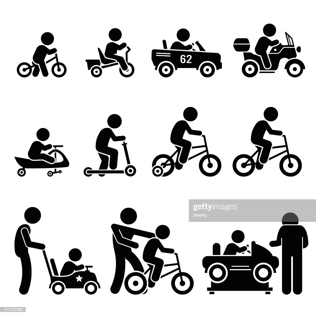 Small Children Riding Toy Vehicles and Bicycle Illustrations