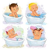 Small children take a bath