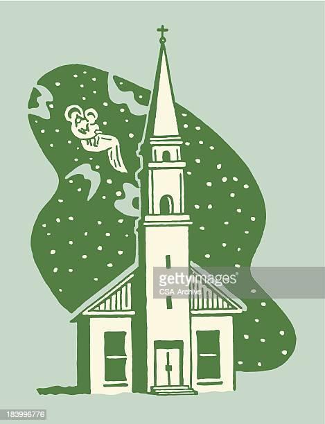 small church at night - steeple stock illustrations, clip art, cartoons, & icons