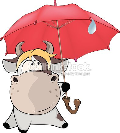 Small Cow And Umbrella Cartoon