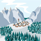 A small cozy town in the snowy mountains. Illustration in flat style