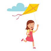 Small cute girl running and playing kite