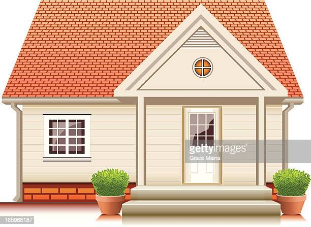 small cute house - vector - house exterior stock illustrations, clip art, cartoons, & icons