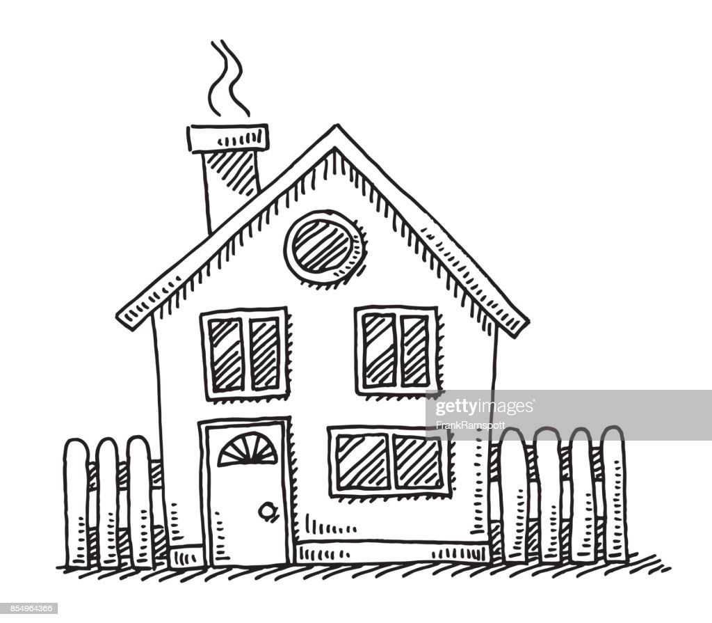 Small Detached House Drawing Vector Art