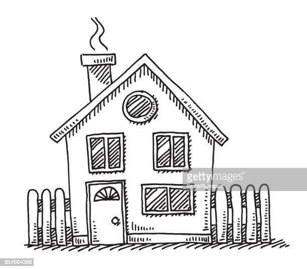 small detached house drawing - sketch stock illustrations