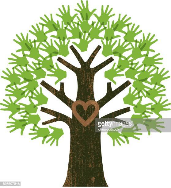 small family tree illustration - tree trunk stock illustrations, clip art, cartoons, & icons