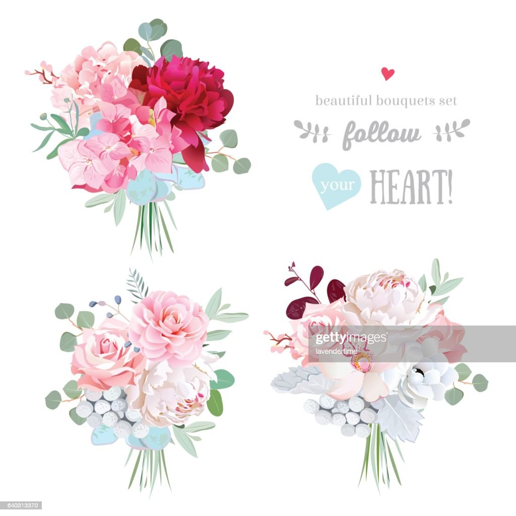 Small gift bouquets vector design set.