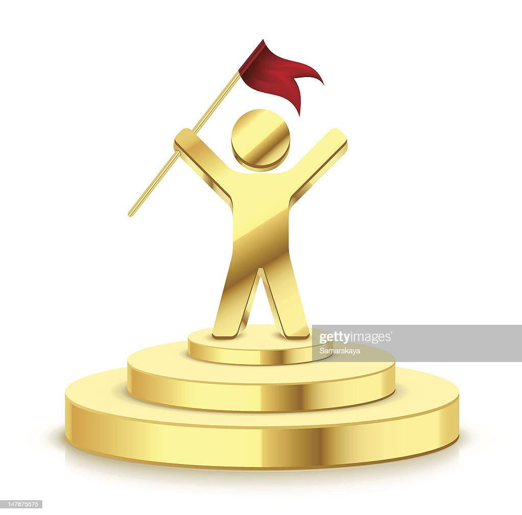 small gold trophy showing man successfully holding flag vector art