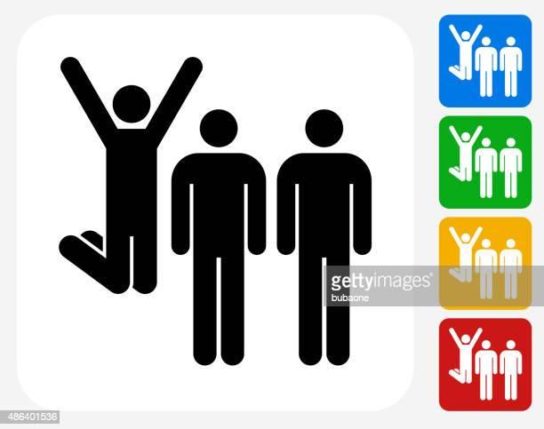 Small Group Celebration Icon Flat Graphic Design