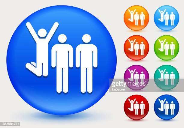 Small Group Celebration Icon on Shiny Color Circle Buttons
