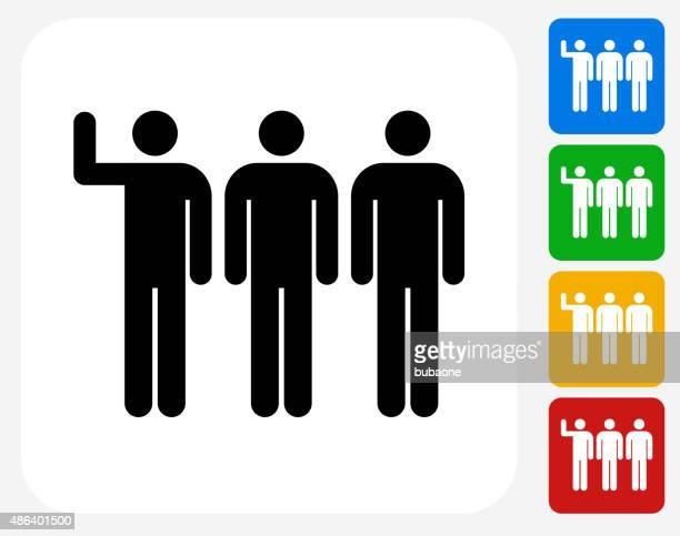 small group icon flat graphic design - three people stock illustrations