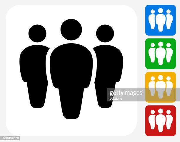 small group icon flat graphic design - stick figure stock illustrations