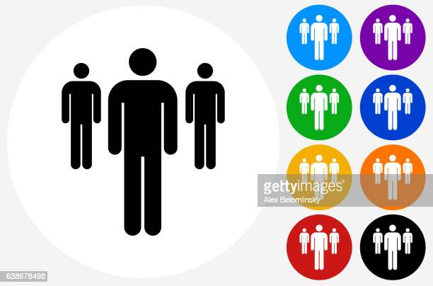Small Group of People Icon on Flat Color Circle Buttons