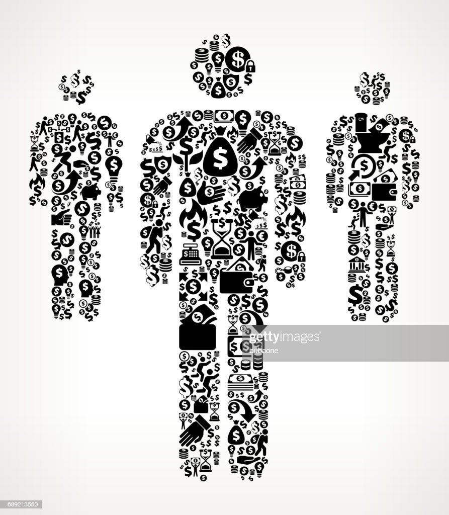 Small Group of People Money and Finance Black and White Icon Background : Stock Illustration