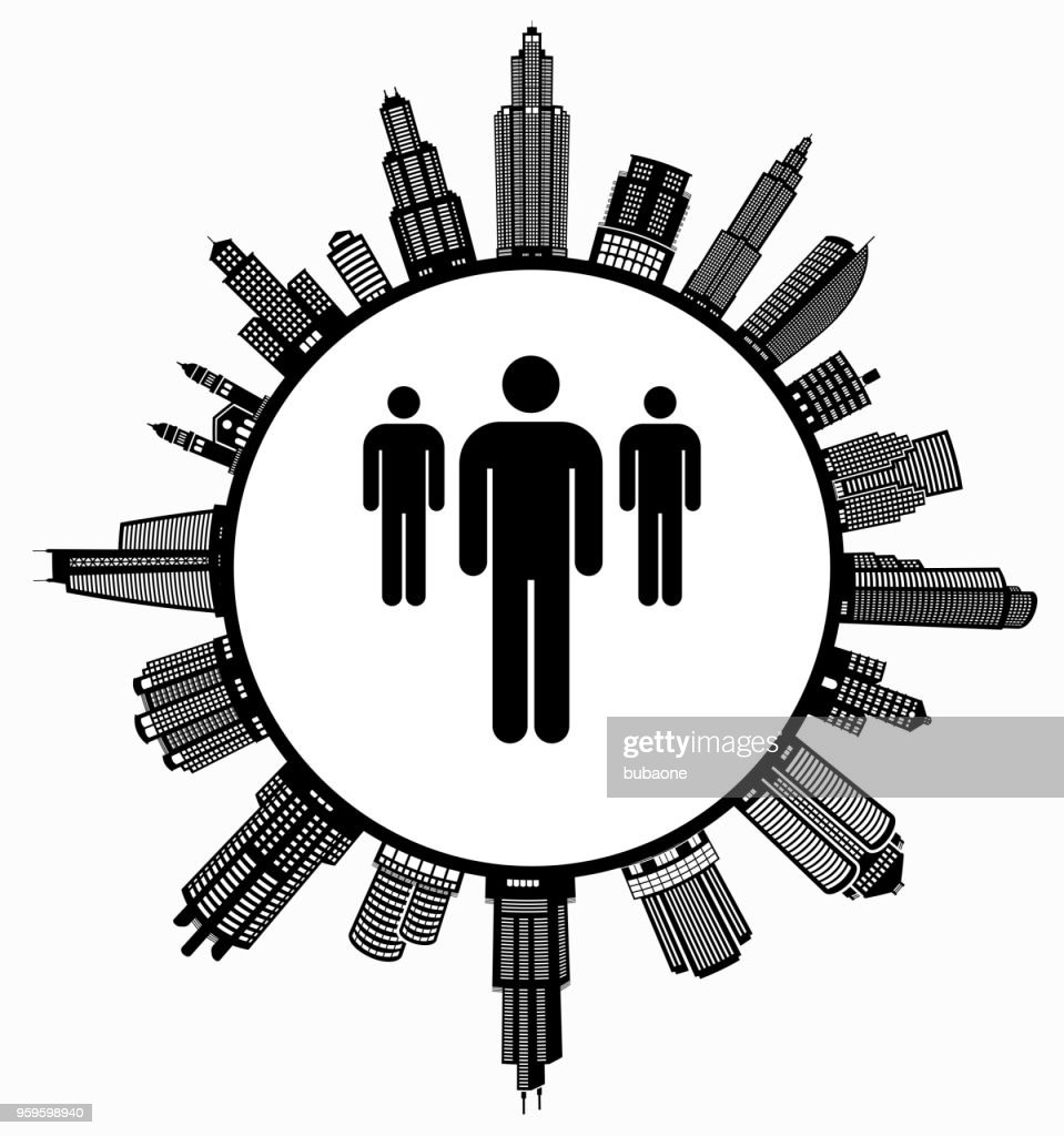 Kleine Gruppe von Menschen auf modernen Stadtbild Skyline Hintergrund : Stock-Illustration