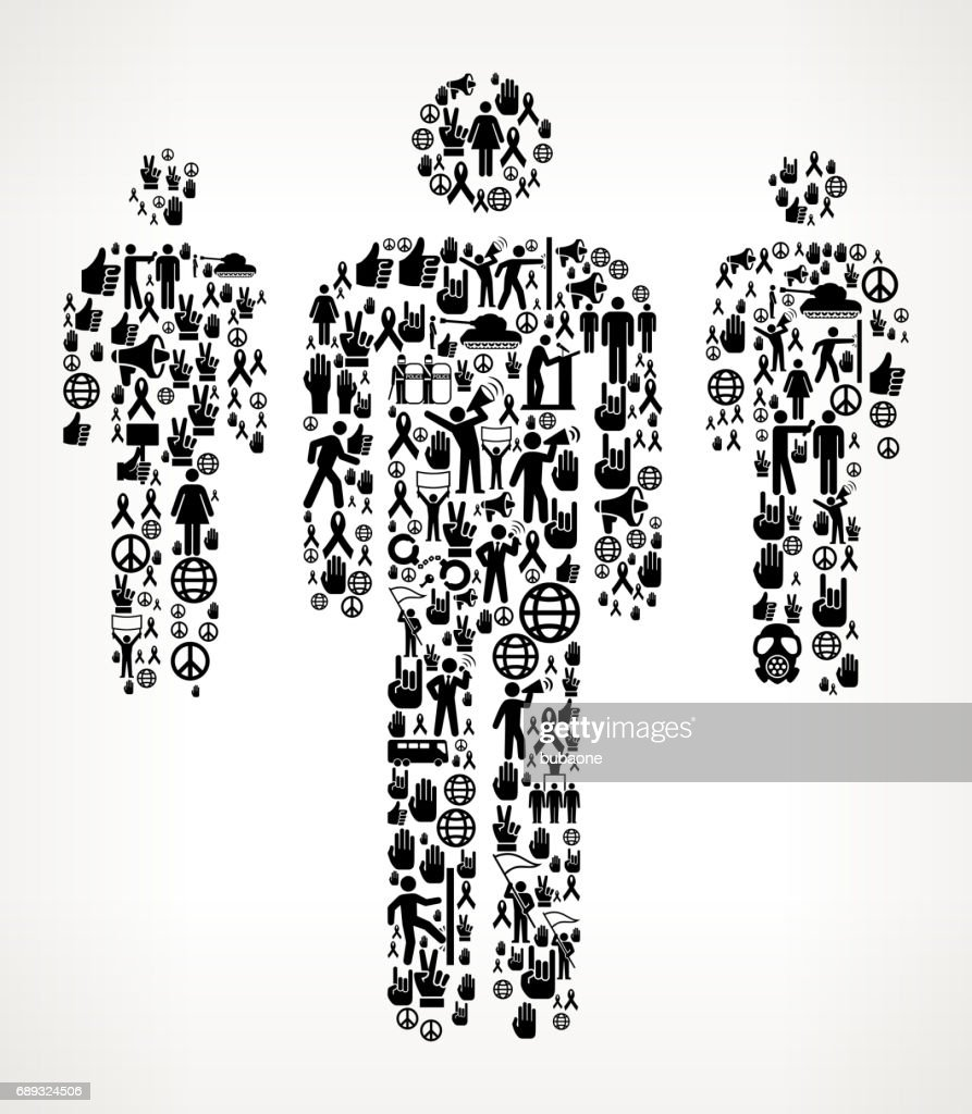 Small Group of People Protest and Civil Rights Vector Icon Background : Stock Illustration