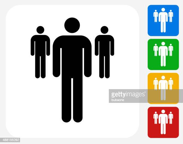 Small Group of Stick Figures Icon Flat Graphic Design