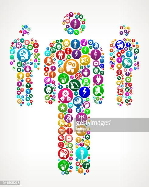 Small Group of Stick Figures Vector Icon Pattern Background