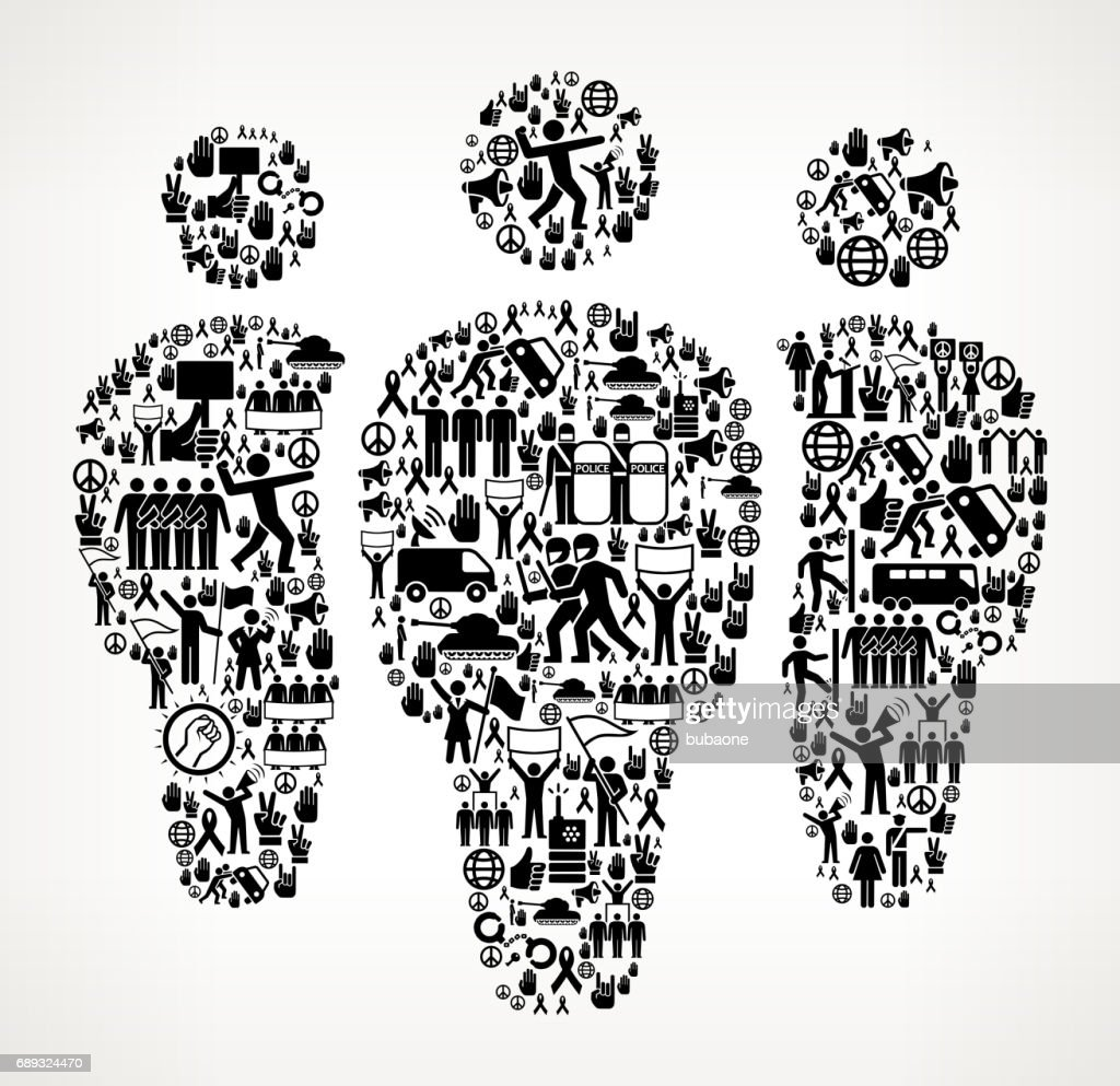 Small Group  Protest and Civil Rights Vector Icon Background : Stock Illustration