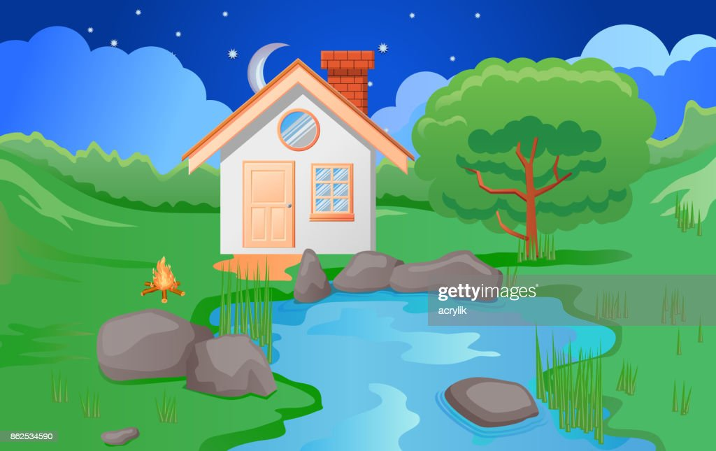 Small house beside a pond or lake vector