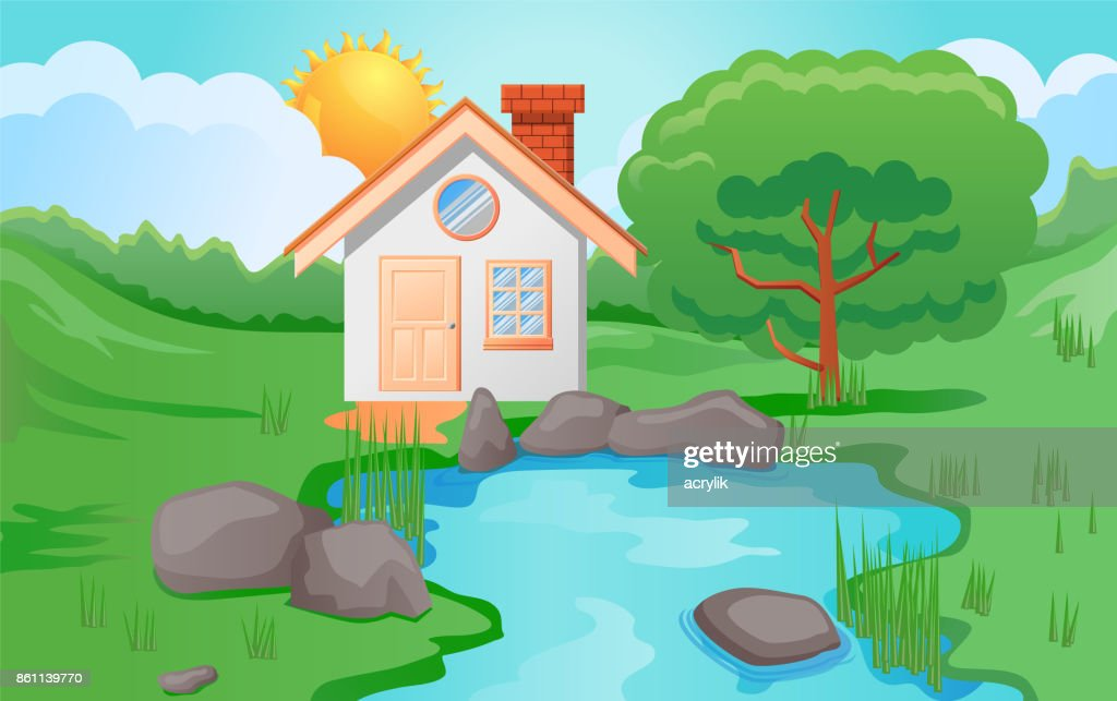 Small house beside the pond vector