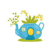 Small house made from blue teapot, fairytale fantasy house for gnome, dwarf or elf vector Illustration on a white background